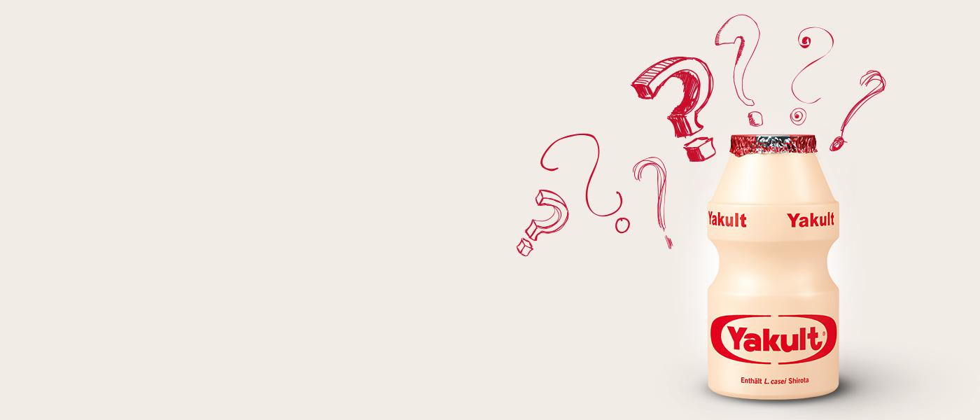 Yakult Fläschchen mit Fragezeichen
